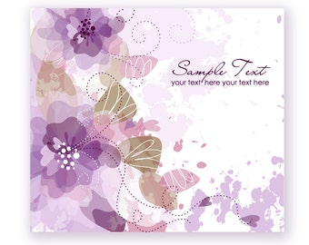 Custom Wedding purple Hand Drawn Floral card. Printable digital Card