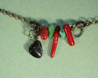 3 Red Coral, 2 Turquoise, Blue Goldstone Star Necklace
