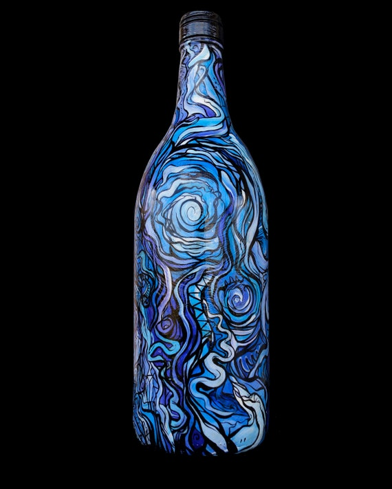 Hand painted glass wine bottle by entmedia on etsy for Hand painted glass bottles