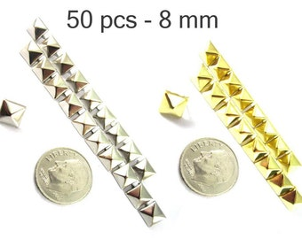 50 pcs - 5/16 inches (8 mm.) Nailheads Spots Pyramid Studs - 2 Prong (2 legs) Square Stud Spike - for DIY bag , shoes , on clothes fashion