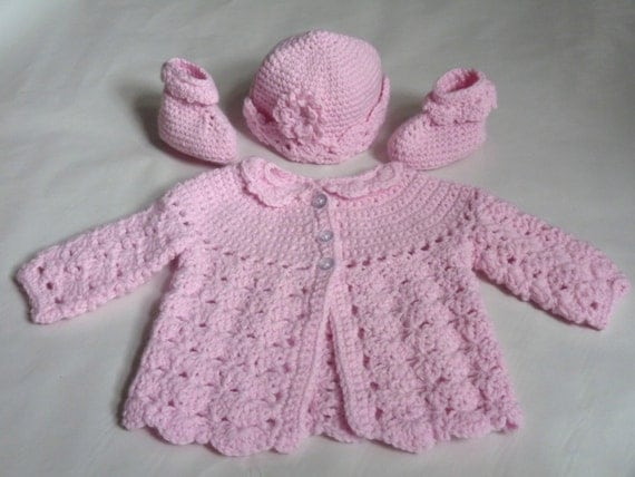Baby Girl Pink Crochet Jacket, Hat and Booties Layette Set