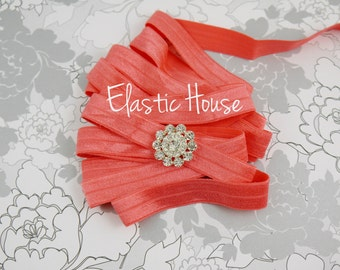 5  or 10 Yards 5/8 Fold Over Elastic - Coral Color - Coral Elastic Fold Over- Elastic Fold Over - Hair Accessoires Supplies