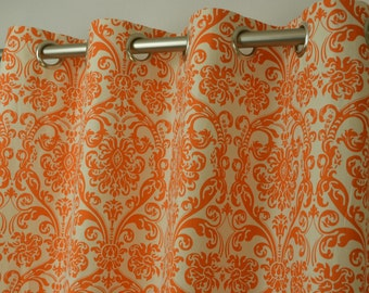 Sale - Ready To Ship // 30% OFF // 96 Length //Pair of Grommet Top Curtains in Mandarin Orange and Natural Abigail Damask Print Dossett