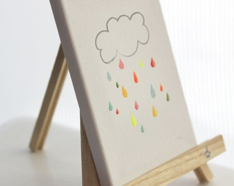 personalized original canvas art - rainbow drops