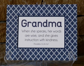 Mothers Day scripture gift for Nana, Grandma, Mimi, Mom, Proverbs 31 navy, cream