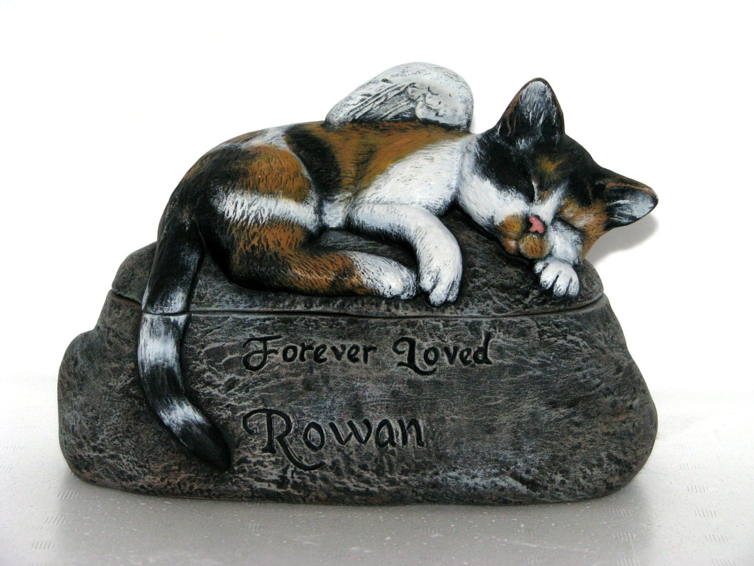 Ceramic Engraved Painted Cat Cremation Urn hand made pet urn
