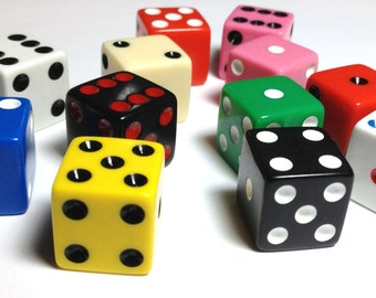 14 Multicolored Dice for crafting or game-play - 16mm high quality dice - square corners - mixed fun colors