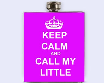 Keep calm and call my little flask, sorority flask purple