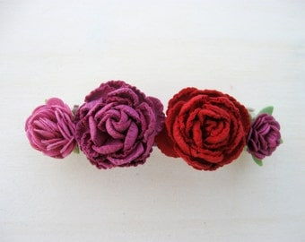 Flower Hair Barrette, Pink and Red Flower Hair Clip, Women Hair Accessory, Teen Girls Hair Clip, French Barrette, Rose Flower Hairclip