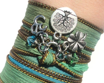 Tree of Life Om Silk Wrap Bracelet Om Jewelry Green Aqua Blue Yoga Namaste Mother Nature Anklet Necklace Unique Gift Under 50 Item S20