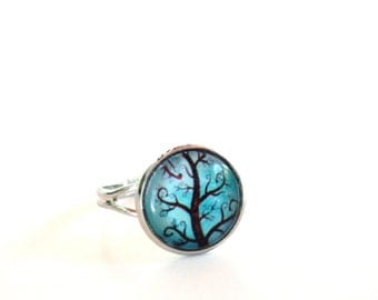Tree of Life, Ring, Yoga Jewelry, Adjustable, Aqua Blue, Earthy, Antique Silver, Spiritual, Wisdom, Unique Birthday Gift, Item E63
