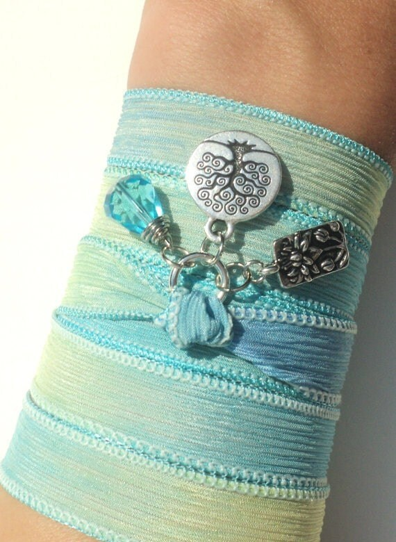 Lotus Tree of Life Silk Wrap Bracelet Yoga Jewelry Namaste Necklace Earthy Unique Gift For Her Valentines Mothers Day Under 50 Item S78