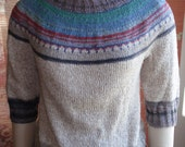 Hand Knit Vintage Bauhaus Retro 1950s style Sweater Bohemian Spring Summer Hand Painted Yarn