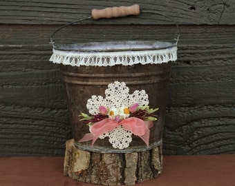 Flower Girl Rustic Bucket with Wildflowers and Lace, Cottage Wedding, Rustic Wedding, Farmhouse Wedding, Country Wedding, Flower Girl Basket
