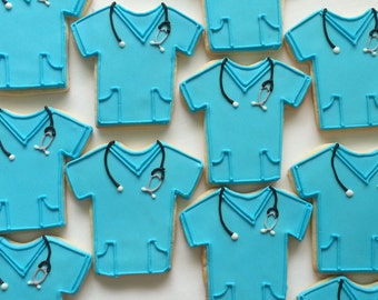 12 Doctor Nurse Medical Scrubs Hand Decorated Cookies