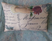 """French Pillow 11"""" x 7 Address Postcard from Vintage print w Rose"""