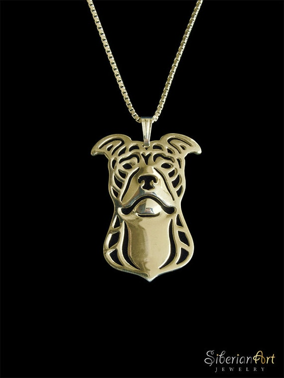 pit bull terrier gold pendant and necklace