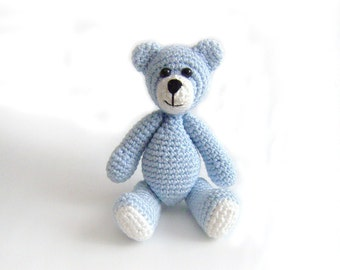 Amigurumi Llittle Crochet BlueTeddy Bear