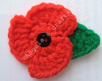 Crochet poppy Remembrance Day/Veterans Day