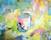 The Cup, 8x8 PRINT of oil painting, pastel colors, still life with cup, painting of a coffee cup, tea cup, breakfast print, kitchen art