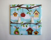 Tree Branches & Bird Houses Double Toggle Switch Plate, wall decor