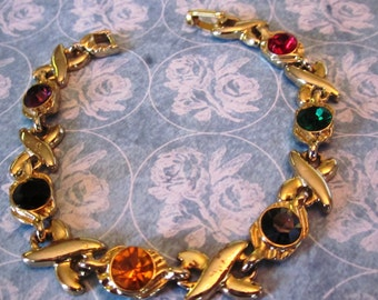 Vintage Gold Link Multi-Colored Rhinestone XO Bracelet, I Love You Bracelet Made in USA, Holiday, Birthday, jAnniversary, Gift for Her