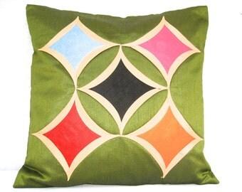 Green Throw Pillow, Green Pillow, Green Cushion Cover, Cathedral Window Pillow, Decorative Pillow, Handmade- 'Green Windows'