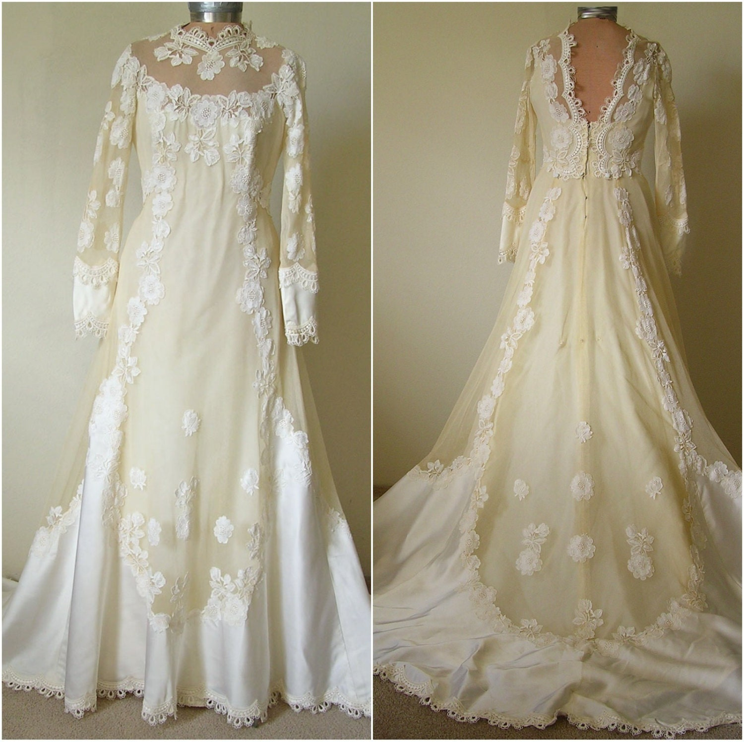 Vintage 1960s EDWARDIAN Ivory Empire Wedding Gown Bridal
