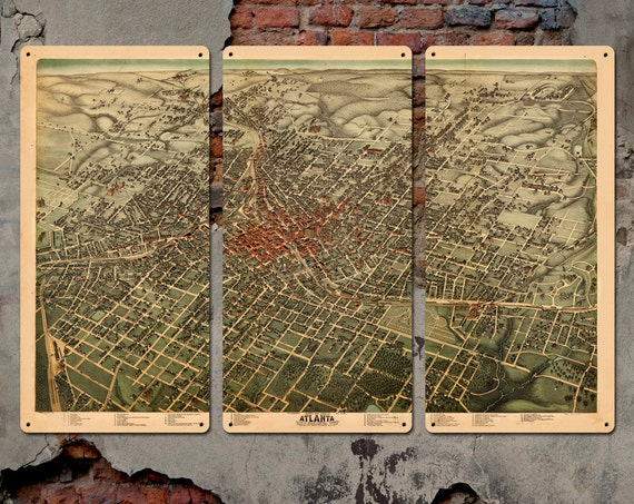 """Vintage Map of of Atlanta 1892 METAL 36x24"""" Triptych FREE SHIPPING"""