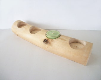 Maple Tea Light Log Candle Holder Rustic Tealight Size Smooth -Bark