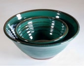 Green stoneware pottery bowl set.  Ready to ship.
