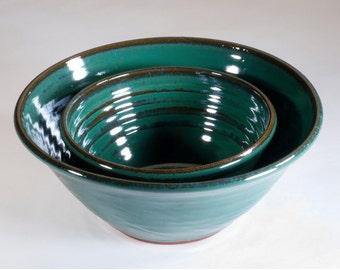 Green stoneware pottery bowl set.  Ready to ship.