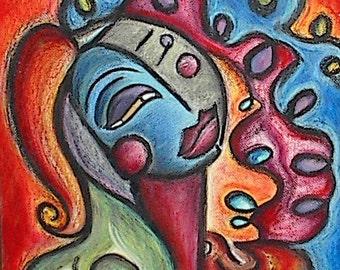 Diva, Oil Pastel Painting