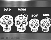 Your choice of 4 Sugar Skull Family vinyl decals / Please READ description for ordering instructions - Car decal - Family decal