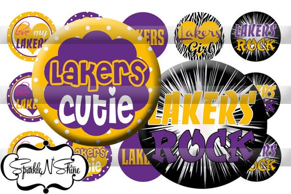 Instant Download Bottle Cap Image Sheet - Lakers - 1 inch Circles