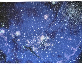 Astronomy Fabric Small Magellanic Cloud Blue 27 x 17 inches on Cotton Sateen Fabric