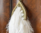 Golden Age Evening Clutch - Ostrich Feathers and Brass Ornament