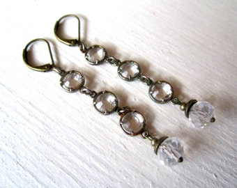 Crystal and Antique Brass Ice Dangle Earrings: Vintage Inspired