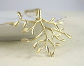 Matte Gold Tree Necklace - Leafy Tree Branch Necklace - Tree of Life Necklace - Nature inspired Jewelry