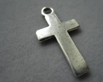 Cross charm,  Antique Tibetan silver tone cross charm, 25mm x 13mm, 6pc