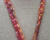 Lanyard, or Scarf (ribbon yarn) lt orange, lt. pink, olive green, peach,lavender very pretty