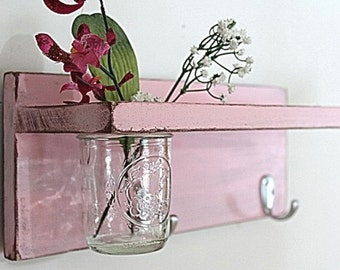 Vintage shelf 2 key hooks with floral wall vase, wood, distressed, sconce, shabby chic, home decor, country style, painted Blossom Pink