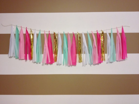 Mint pink white and gold tassel garland