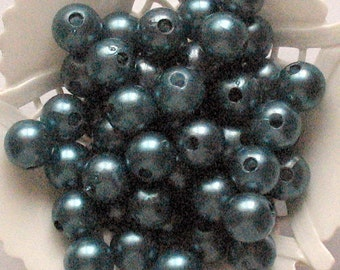 Beads Plastic Blue Gray10mm Round 20 pcs pearl-shell Beads