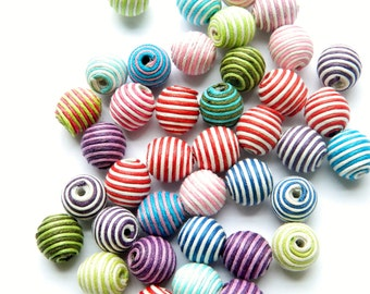 10 pcs Stripe Wax Cord Woven Beads, Basketball Wives Earrings Balls Celebrity