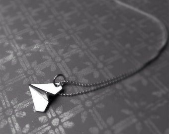 Silver Paper Airplane Charm Necklace