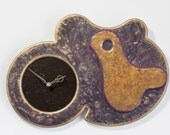 Abstract Wall Clock Distressed Mauve Antique Gold Steam-Punck