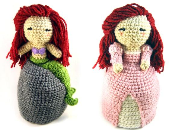 Knitting Pattern For Reversible Doll : Little Mermaid Princess Ariel topsy-turvy reversible doll