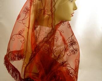 Embroidered Organza Mantilla/  Ornate Burgundy Catholic Veil / Traditional Mass Headcovering / Latin Mass Veil