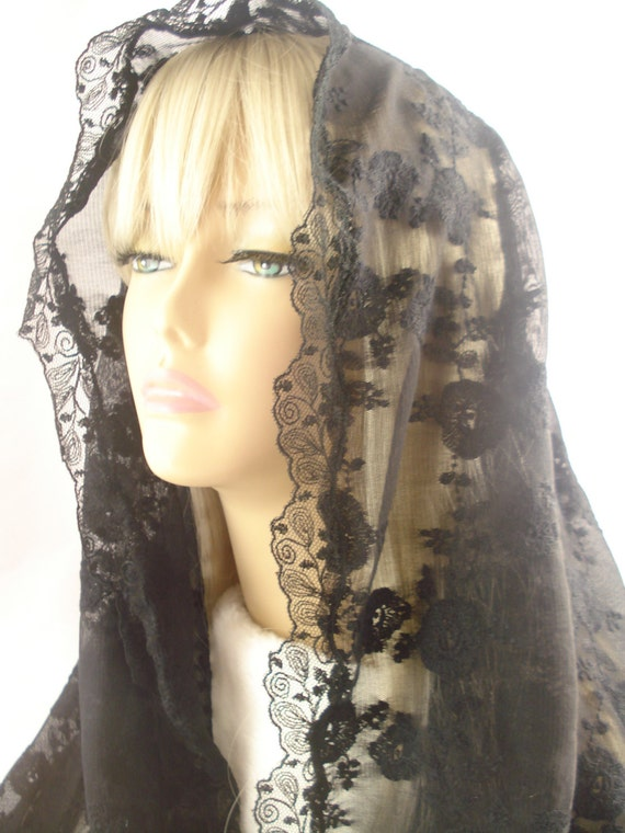 A Long Wrap Style Veil/ Embroidered Black Mantilla/  Black Leaf Organza Headcovering.